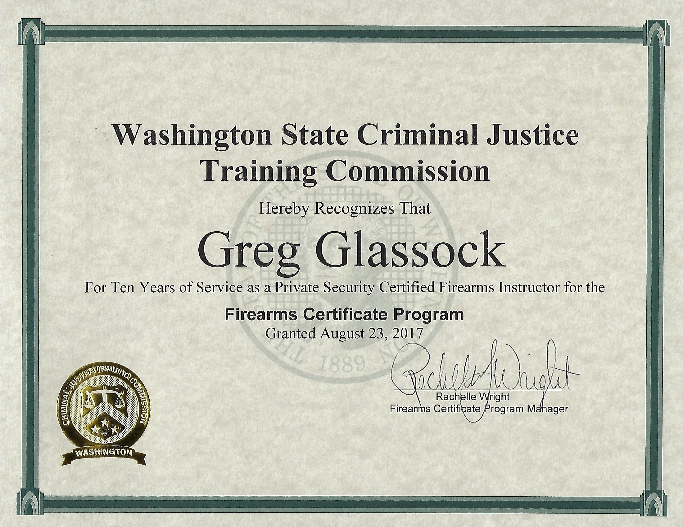 Greg glassock recognized for 10 years of service with wa cjtc greg glassock recognized for 10 years of service to wa cjtc 1betcityfo Choice Image